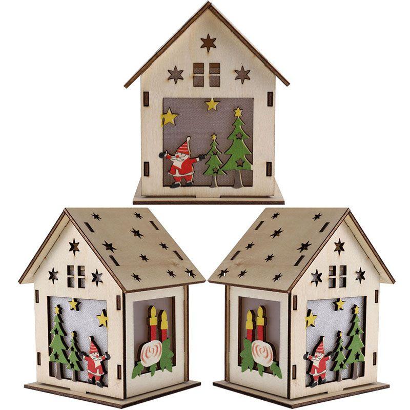 Festival de la luz llevada de madera casa del árbol de Navidad Decoración para el hogar Ornamentos colgantes de vacaciones en Niza regalo de Navidad de boda Navidad 2020