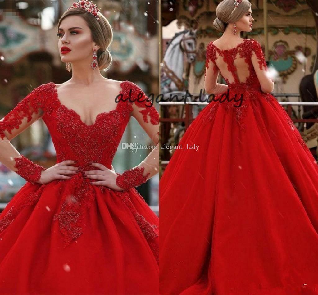 Kırmızı Dantel Aplike Gelinlik Uzun Kollu ile 2019 Yeni Renkli Artı Boyutu Sırf Geri V Yaka Arapça Dubai Gelin Prenses gelinlik