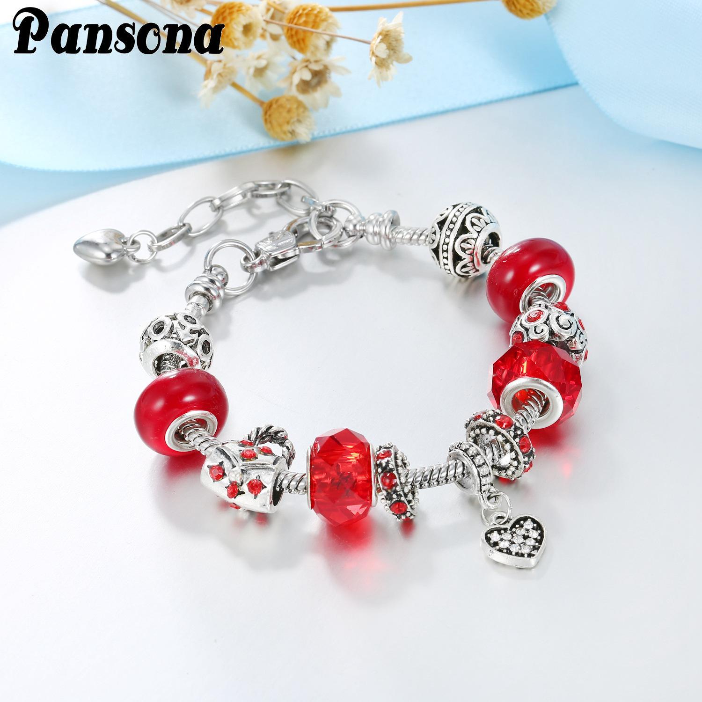 Acheter Pandora Style DIY Mode Femmes Rétro Creative Charm Argent Plaqué  Cristal Bracelets De Mariage Fille Bracelet Pas Cher Bijoux Perlé Brins  AA191 ...