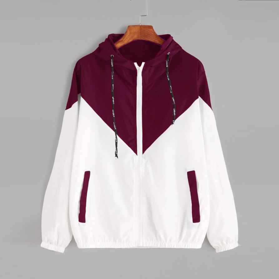 Vestes, blousons de base Femme Zipper poches Casual manches longues Manteaux Automne Veste à capuche Deux coupe-vent Tone Jacket