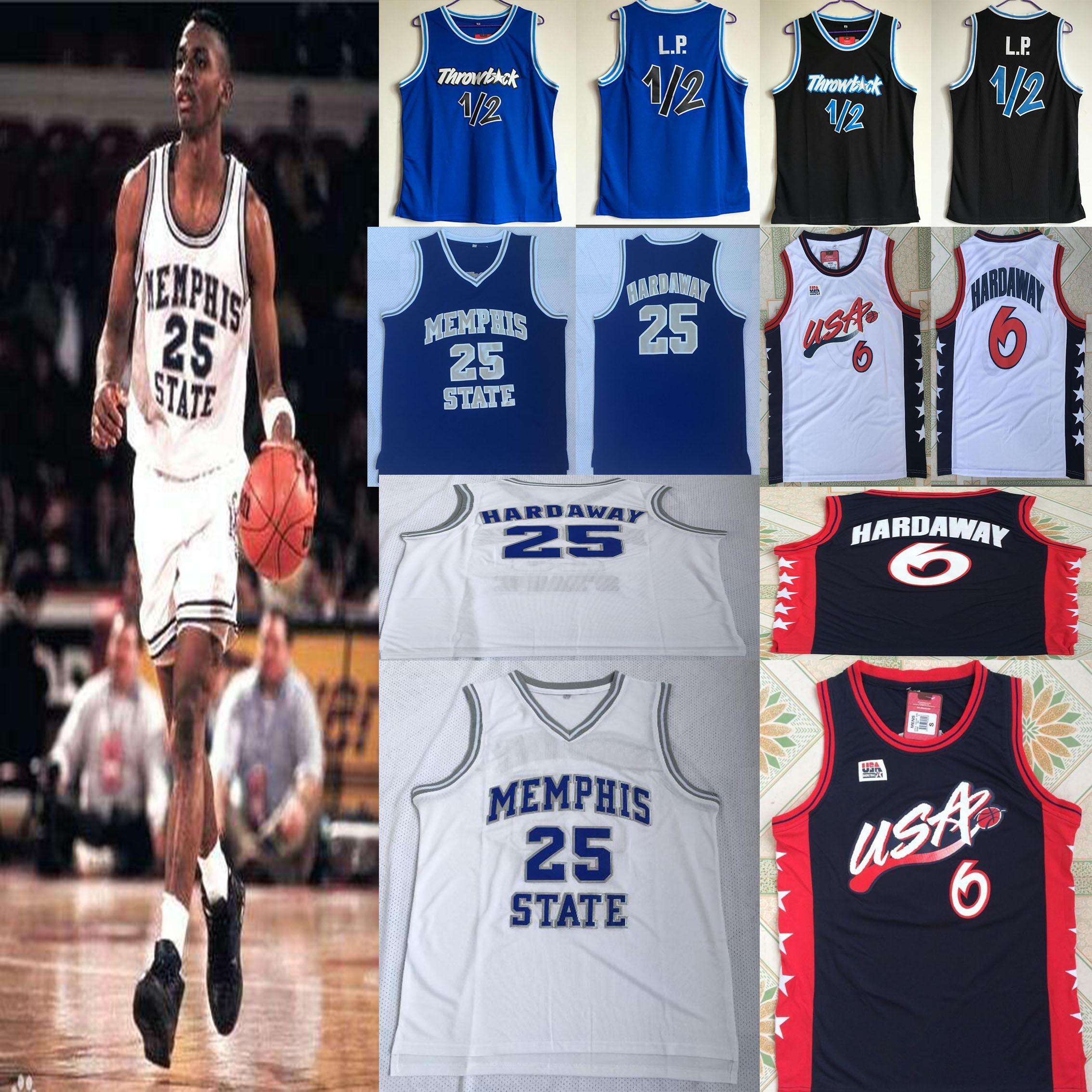1996 EE.UU. equipo de sueño 6 Memphis Estado thrawback # 1 # 25 Hardaway jerseys blanco azul de alta calidad de cosido jerseys de baloncesto de la universidad
