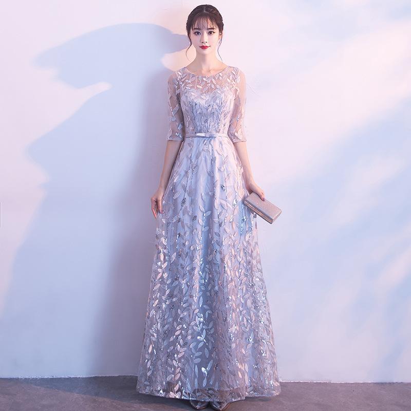 2020 Zeitlich begrenzte Halb Tapete Cozinha Abendkleid Kleid-Frauen 2020 neues Bankett edle elegante Partei Show Host dünnes Abend