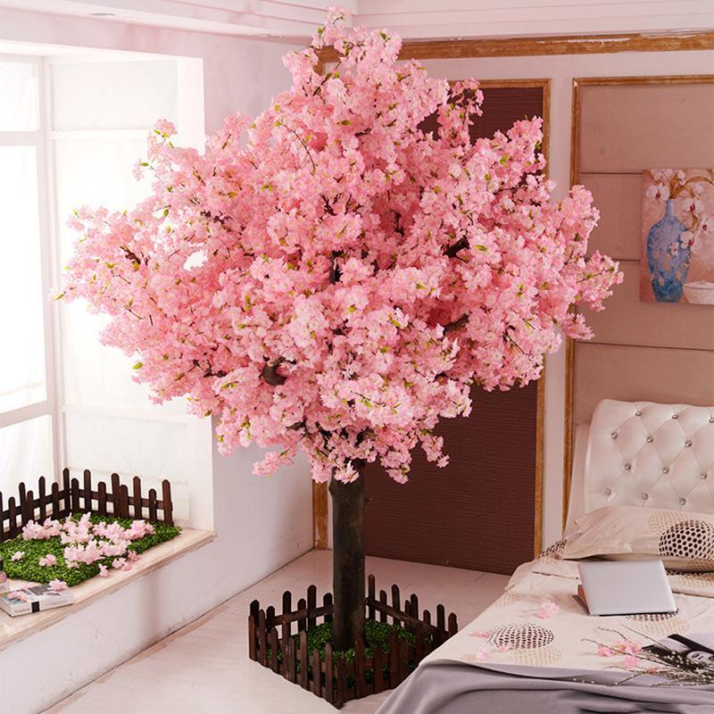 Faux yumai Fleur de cerisier Arbre Rose Sakura Fleurs artificielles Arbre Fête de mariage fond mur Décoration vitrine Décor