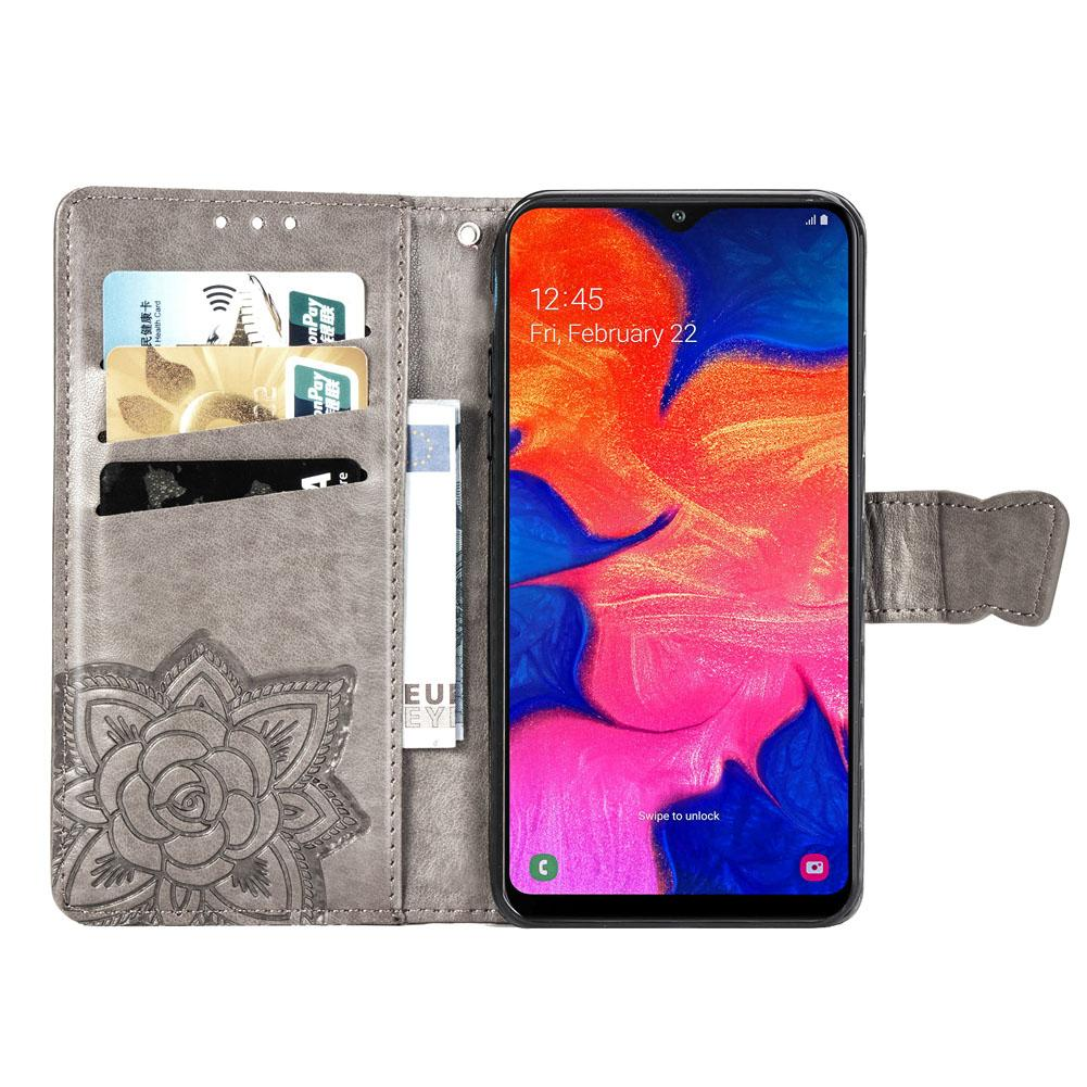 Samsung Galaxy S10 Case Grey Protective Flip Soft PU Leather Notebook Embossed Butterfly Kickstand Card Holder Bumper Cover for Samsung Galaxy S10