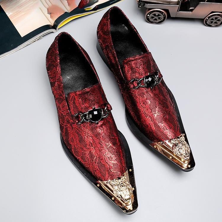 Hommes Chaussures en cuir rouge Casual cuir véritable Mocassins Toe Capped Métal Pointu Slip-on Chaussures mode pour soirée de mariage