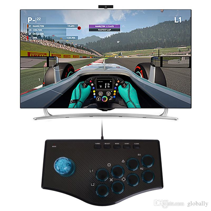 Arcade Joystick Gamepad Game Controller PC PS3 سلكي لعبة جويستيك كبل متعددة الوظائف واسعة اتصال الروك للكمبيوتر