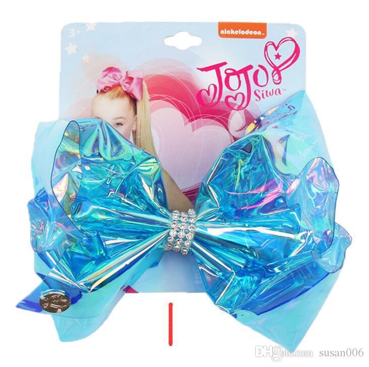 5,5 pollici Jojo Swia Archi per capelli Shinny Florescence Colore Boutique Archi con accessori per capelli con strass Materiale in resina Cheerbow Bowknot