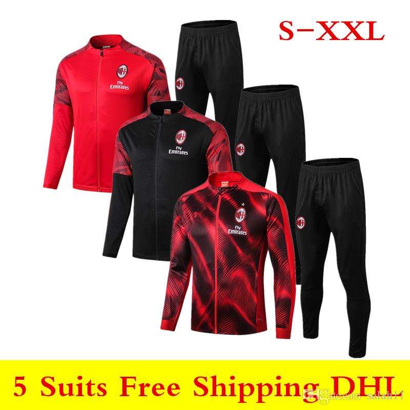19 20 New AC milan jacket sportswear 2019 2020 BAKAYOKO soccer tracksuit CALDARA CUTRONE CALHANOGLU SUSO long sleeve zipper training suit