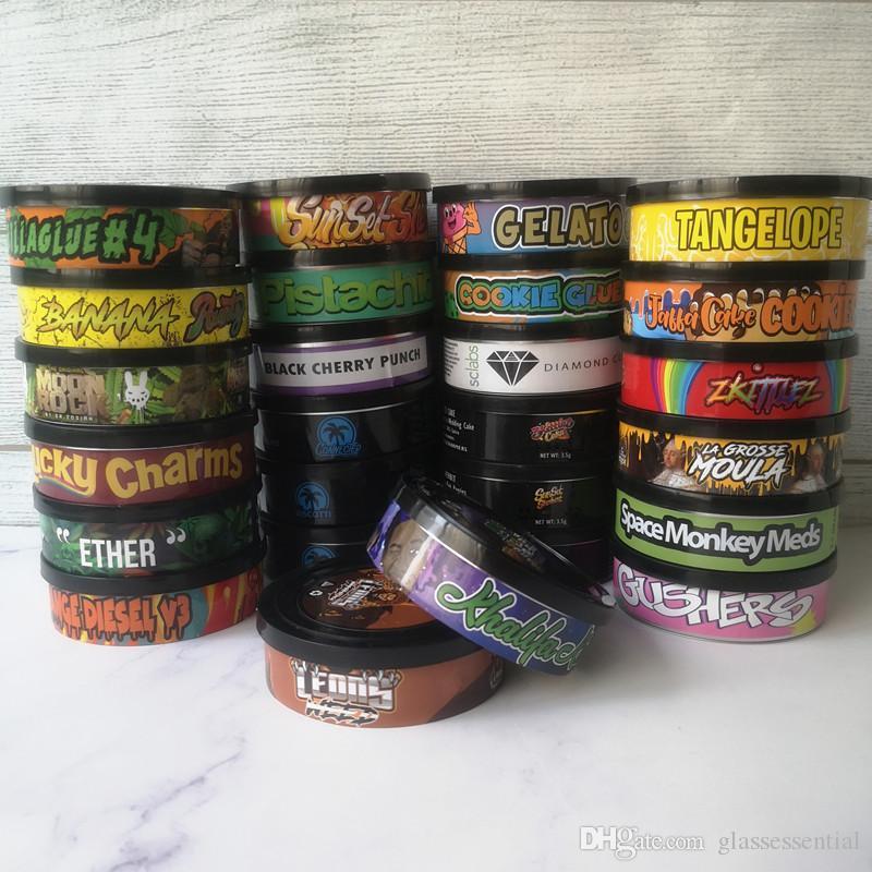Paketleme Şişeleri Pressitin Cons Moonrock ve Basınçları 73.3 * 24mm Cali PressitinTuna Candry Herbtin Temizle Soyma Kapak Siyah Kapak