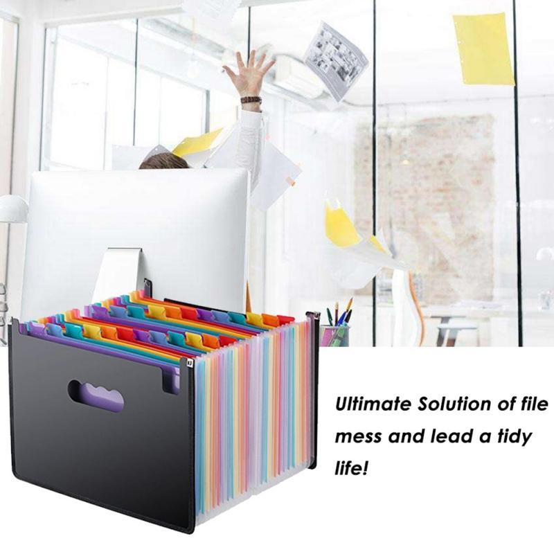 Rainbow Organ Business Document Organizer Portable 24 Pocket Expanding File Holder A4 Paper Organizer Storage Bag Office