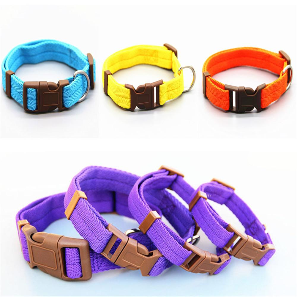 Pet Dog Collar Classic Solid Basic Polyester Nylon Dog Collar with Quick Snap Buckle, Optional collar pull rope 7 colors