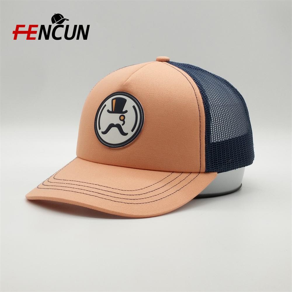 OEM Yüksek Kaliteli Özel Nakış Logo Trucker Mesh Cap Köpük Trucker Hat ile PVC Patch 5 Paneli Spor Boş Caps