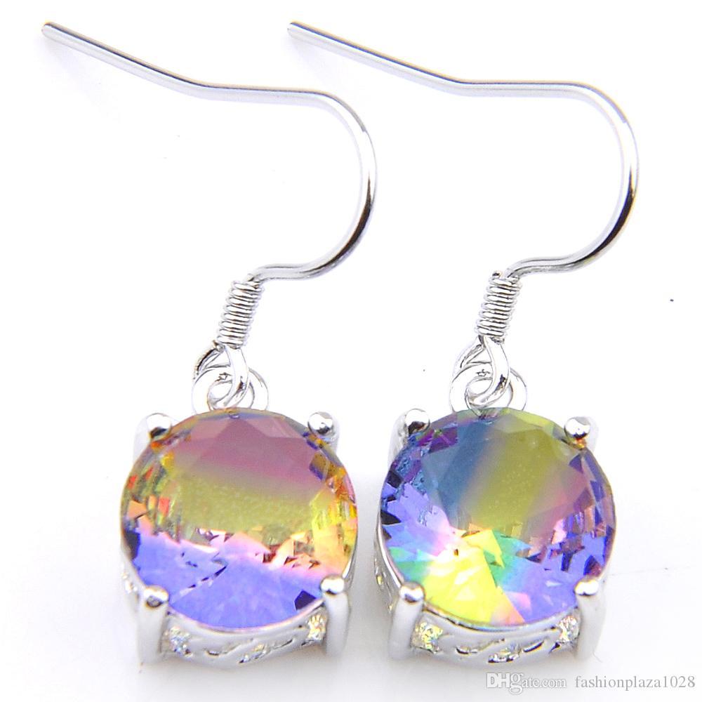 Gioielli Luckyshien Splendido taglio rotondo bi colorate Tourmaline gemme 925 per le donne multicolore zircone orecchini 1' di pollice di trasporto
