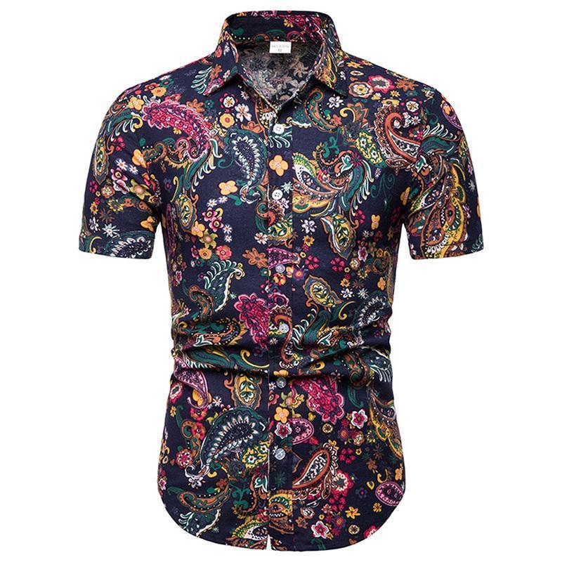 Männer Casual Hemden 2021 Sommer Blume Hemd Mode Slim Fit Kurzarm Drucken Tops Männlich Hawaii Kleidung Trend Mann Floral