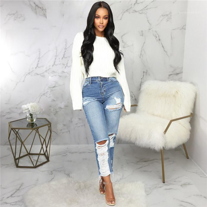 Designer Straight Light Blue High Waist Trousers Females Sexy Fashion Ripped Pants Womens Light Washed Hole Jeans Summer