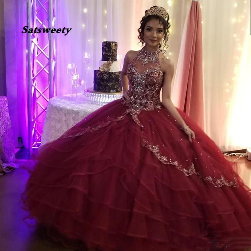 Burgundy Quinceanera Dresses Halter Neck Crystal Corset Back Sweet 15 16 Birthday Dress Princess Prom Ball Gown