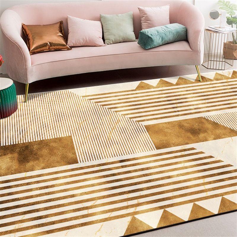 Nordic INS fashion gold geometry rug Digital printing Crystal fleece Non-slip crawling mat Living room carpet bedroom floor mat