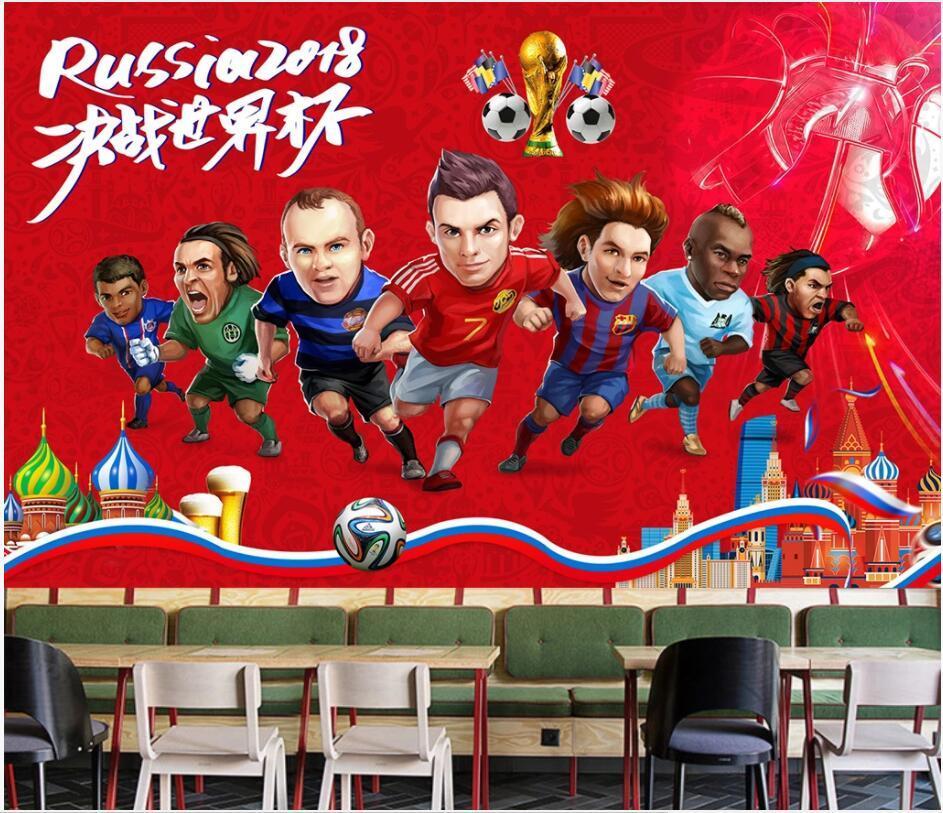 özel fotoğraf 3d duvar Çizgi film karakteri futbol maçı arka plan ev dekor oturma odası 3d duvar resimleri duvarlara 3 d için duvar kağıdı