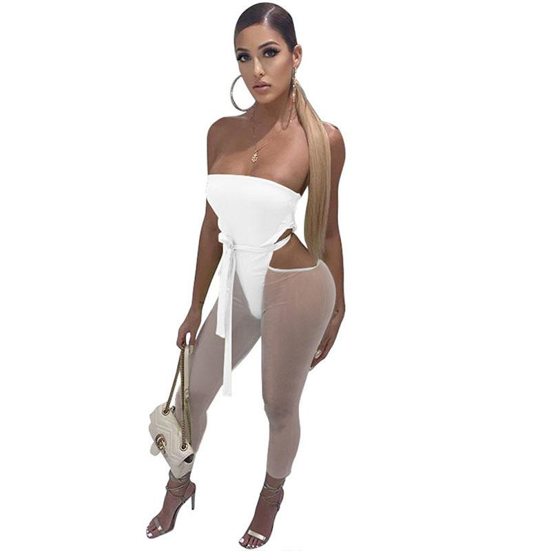 Sexy Strapless Backless Bodycon Bandage Jumpsuit Mulheres Cut Out magro tornozelo-comprimento Pants Romper Party Club One Piece Macacões T200528