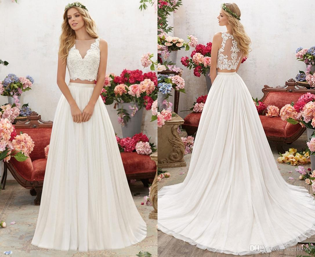 3e98a5e6637 New V-neck Summer Lace Gauze Beach Wedding Dresses A-Line Yarn Tights  Two-Piece White Bohemian Wedding Dress With Exposed Back