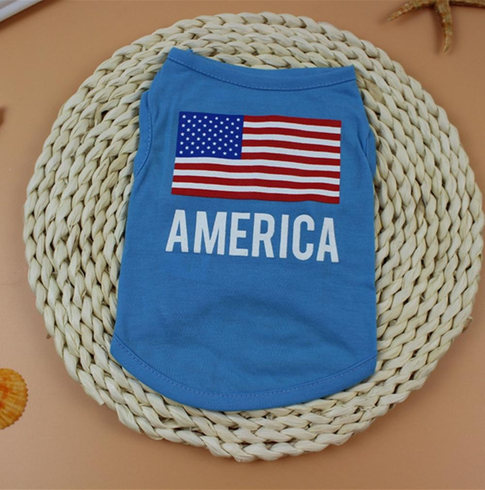 American Flag Print Cute Small Pet Vest Dog Cotton Clothing Small Puppy Costume Summer Cute Lovely Apparel T Shirt Dog Apparel