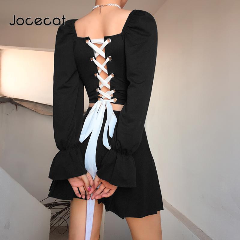 2020 Otoño Negro vendaje cruzado Crop Top Camisetas Square mujeres de la manga de la mariposa del collar de las señoras de ropa de la camiseta de Corea