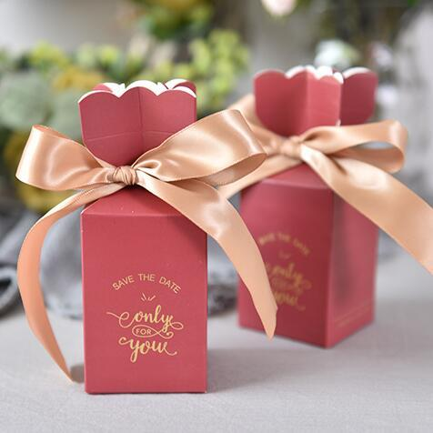 100 x Creative Burgundy Vase Style Save the date Wedding Favors Candy Boxes Bomboniera Party Gift Box Sachet Sugar Giveaways Box