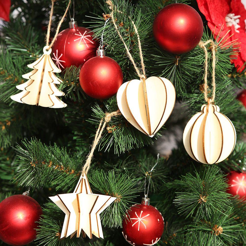 1PCS 3D Natale pendenti di legno, addobbi fai da te Artigianato del legno dell'albero di natale ornamenti partito Decorazioni di Natale regalo dei capretti