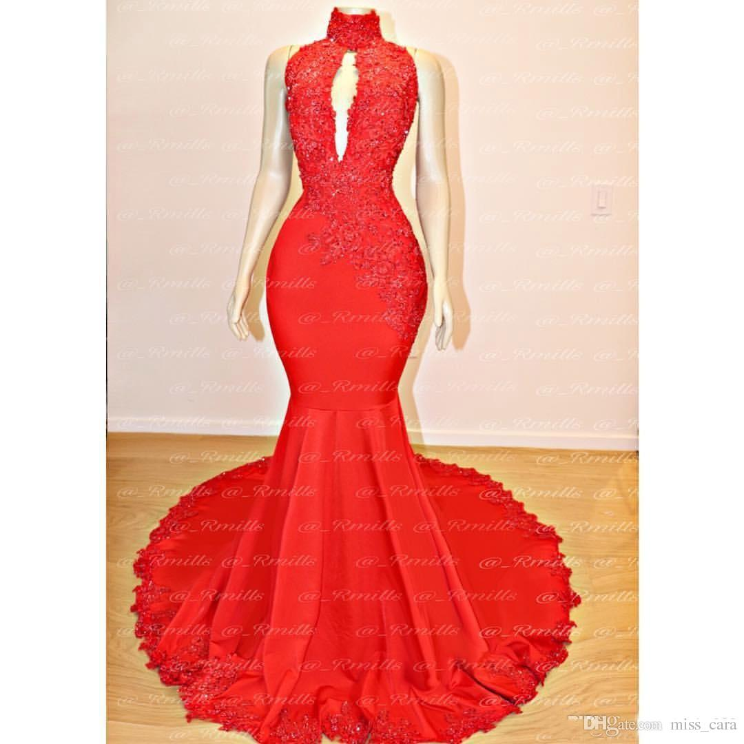 New Mermaid Red Prom Dresses 2019 High Neck Keyhole Lace Appliques Evening Gowns Formal Cocktail Party Dress