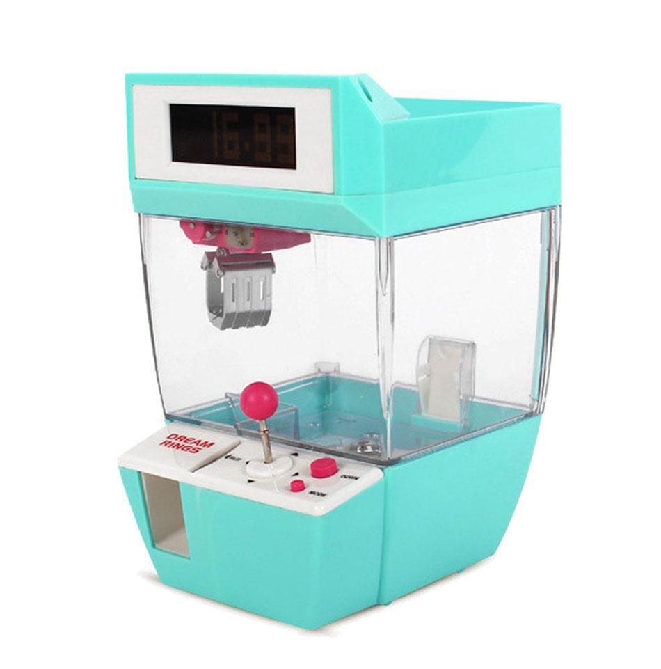 USB Jetonlu Oyun Grabber Çalar Saat Şeker Makinesi Bebekler Masaüstü Vinç Makine Doll Şeker Catcher Grabber Makinesi Klip
