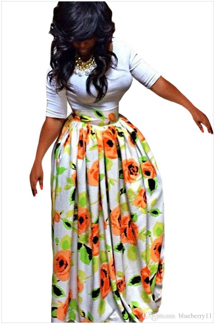 Abito da donna con abiti estivi Abito con maniche sexy da donna Abiti africani stampati a mezza lunghezza Taglia S-XL
