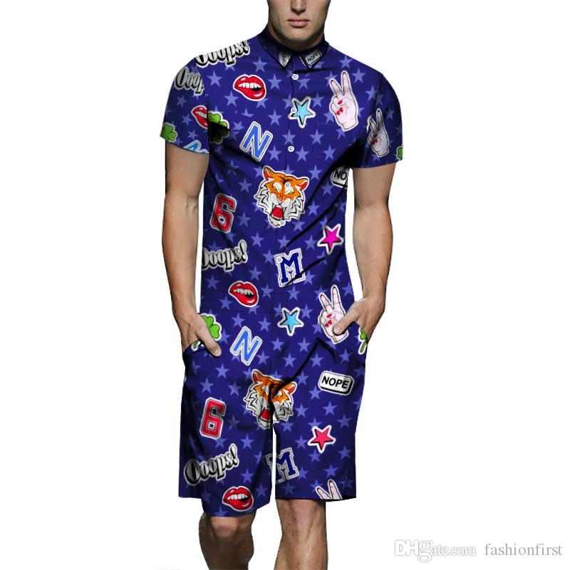 jump suit 2019 star creative retro star Red lip print jumpsuit short sleeve casual street cargo jumpsuit short jumpsuit for men