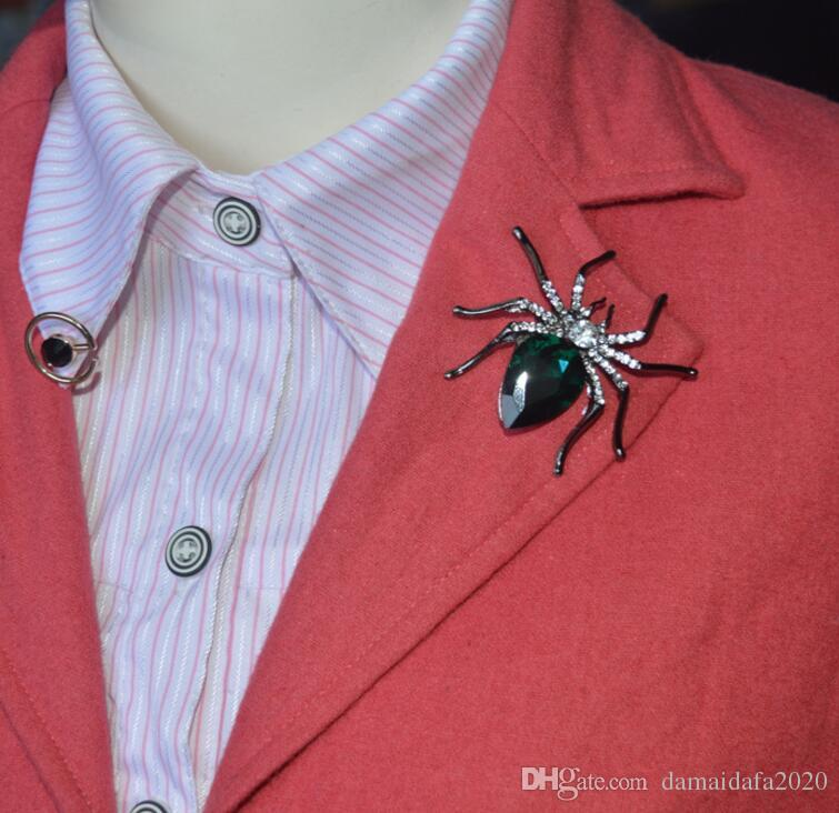 New large spider gemstone brooch pin High-grade black dot diamond brooch ladies western clothing