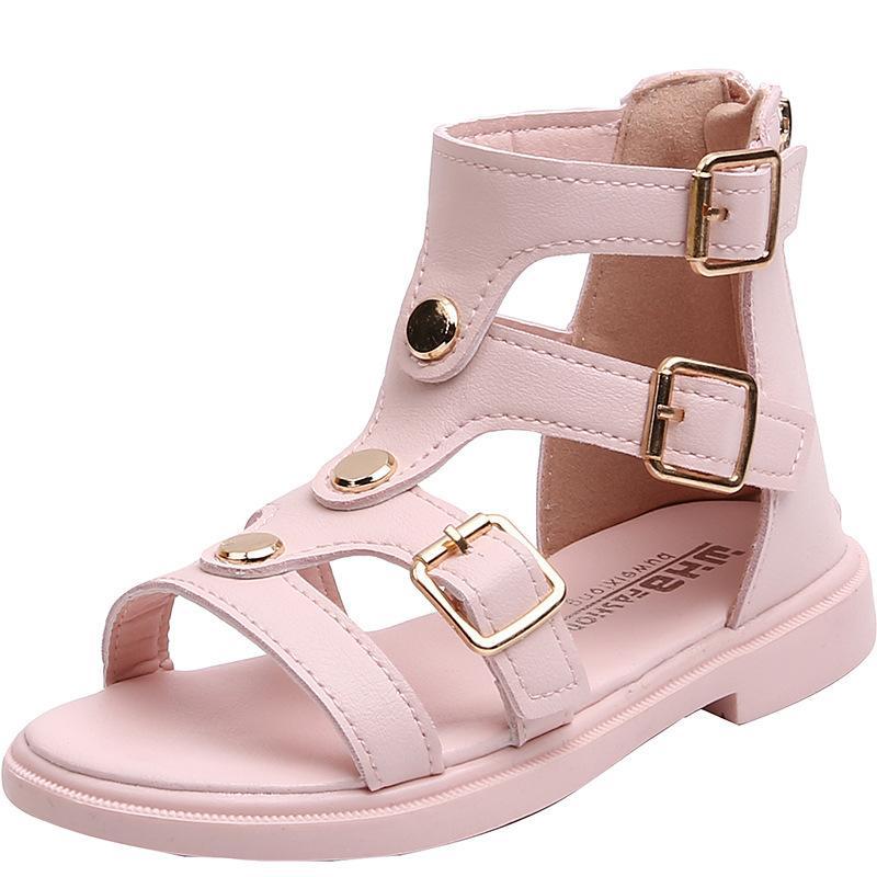 2020 Детские летние туфли летние девушки сандалии Детская принцесса Обувь Девушки Черный Роман Мода Пляж Кожа Санда