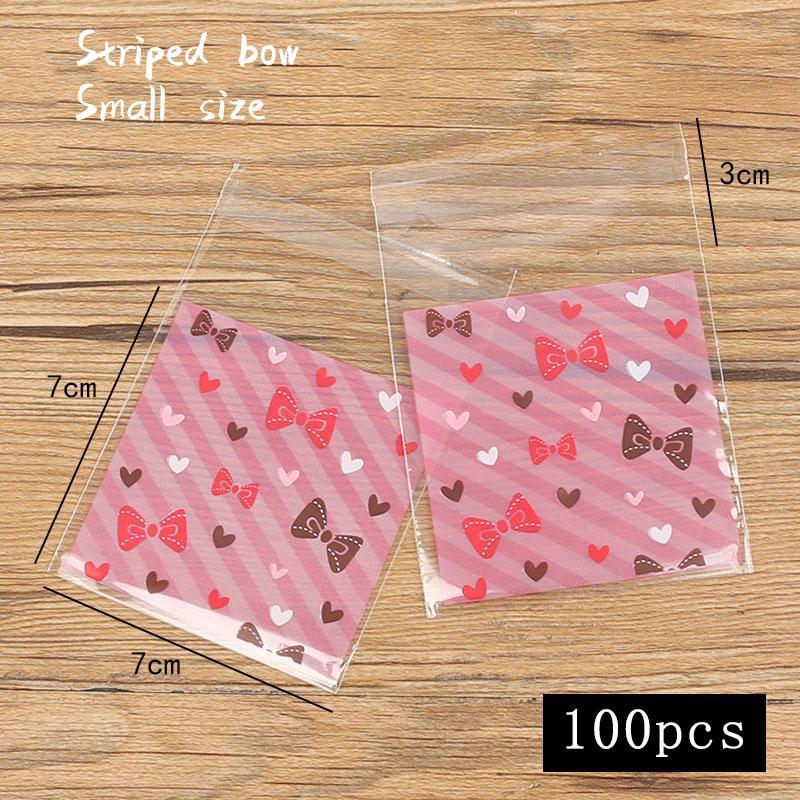 100шт / много печенья Упаковка Мешок Любовь Bow Цвет нашивки Закуска пакет Свадьба Домашнее печенье Wrap Candy Bag
