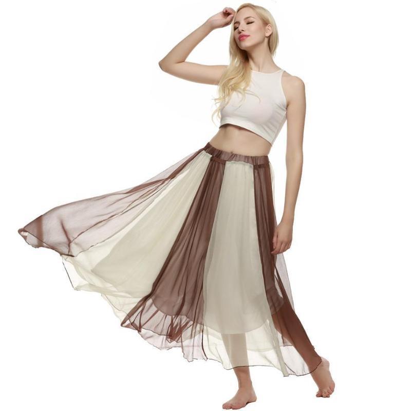 Faldas larga de las señoras de las mujeres del verano maxi faldas de Bohemia estilo de swing que fluye de cintura alta de cuerpo entero playa de la gasa de la falda