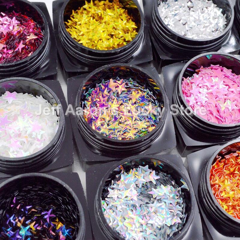 12 색상 별 3D 네일 아트 Decoariton 데칼 반짝이 플레이크 네일 장식 조각 매니큐어 네일 용품 도구