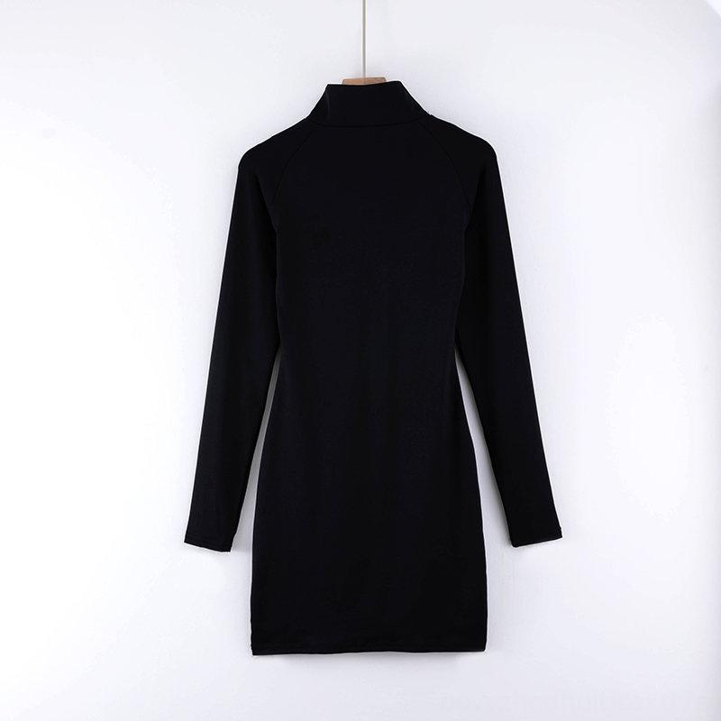 Autumn stand collar hip skirt ins sportswear long sleeve Autumn dress stand collar hip skirt ins sportswear long sleeve dress