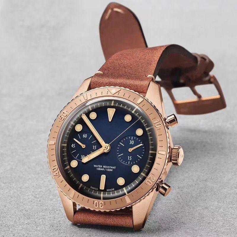 2019 Nouveaux hommes mode montre en or rose montre en argent 44mm Bracelet en cuir Fonction de chronométrage VK Rotation en acier bague en acier noyau de quartz Montres