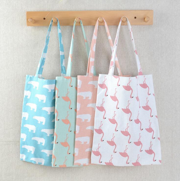 Shopping Bag Polar Bear Ostrich Vintage Designer Women Shoulder Bag Large Capacity Cotton Linen Beach Bags Reusable Grocery Bags LXL691-1
