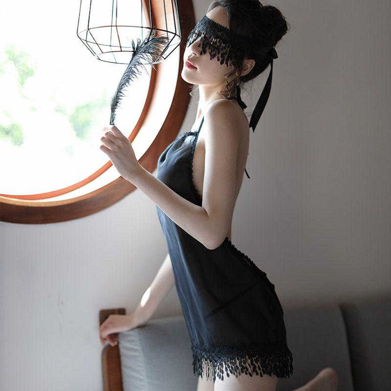 Yeni Seksi Arka Kayış Mini Gecelik Mesh Gazlı bez Perspektif Dantel Temptation Kayış Gecelik Suit Kadınlar Sexy Lingerie Mini Elbise