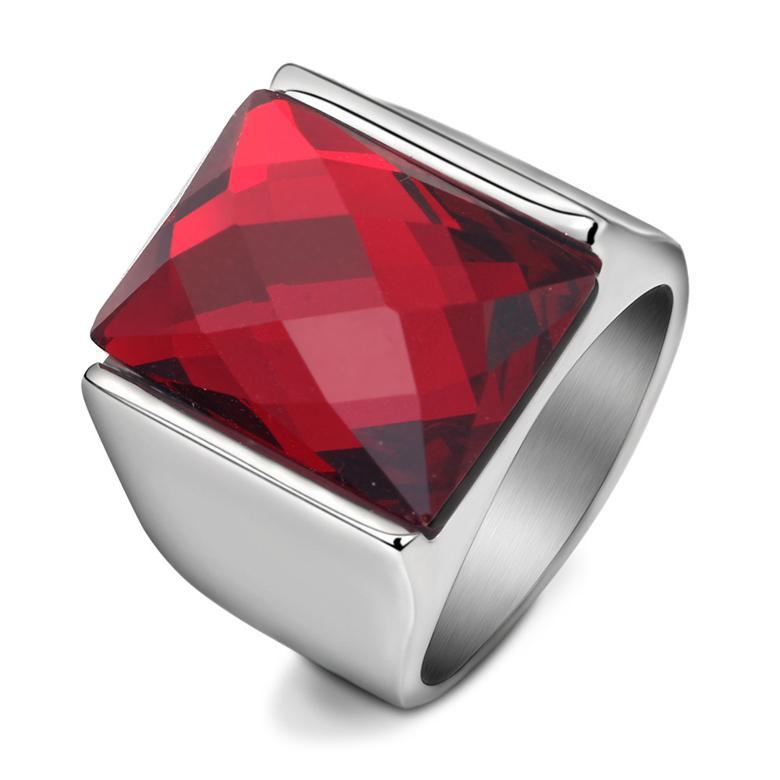 Vintage uomo cluster anelli moda geometrica quadrato nero rosso semi-preziosa pietra in acciaio inox party gioielli accessori regali