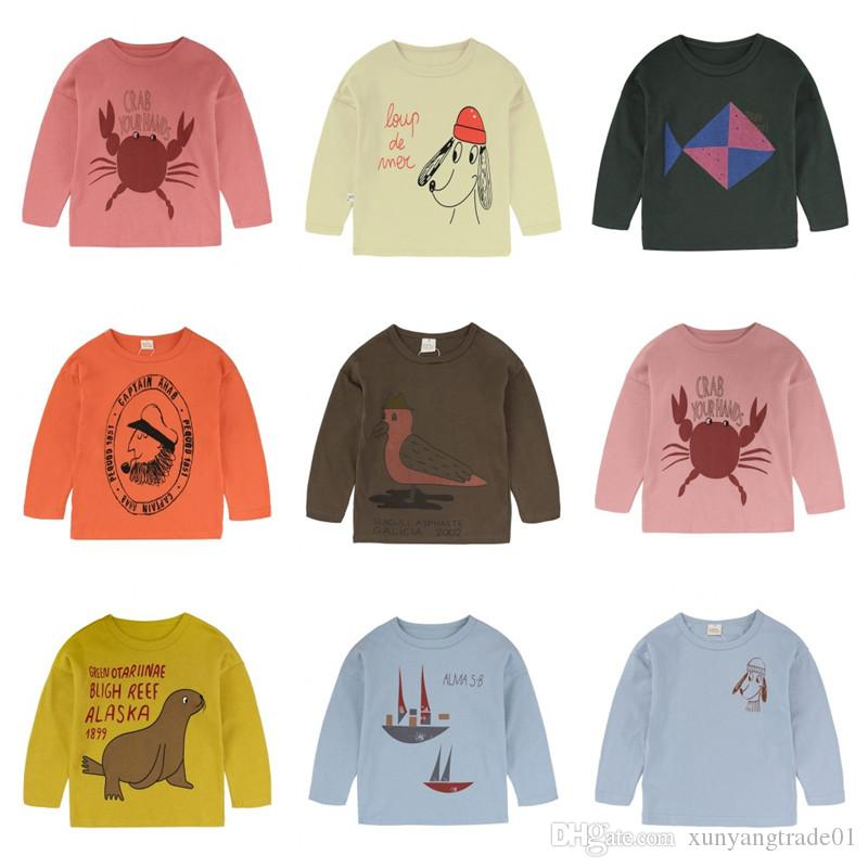 Kinder-T-Shirts Mädchen Junge Tees Langarm Baumwolle Solid Color Cartton gedruckte Oberseiten-neugeborene Kind-Baby-13Colors 80cm-140cm Freies Verschiffen 8S13