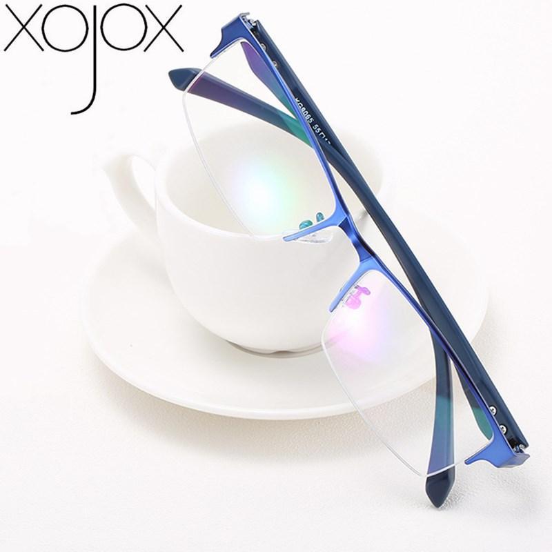 XojoX D'affaires Lunettes Cadre pour hommes alliage Demi-Trame carré fini Myopie Lunettes 0-1.0-1.5-2.0-2.5-3.0-3.5-4.0