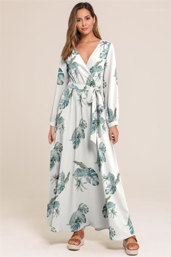 Moda lunga allentata Abbigliamento casual Ladies Dress donne designer V manica stampati vestiti dalle signore Long Neck