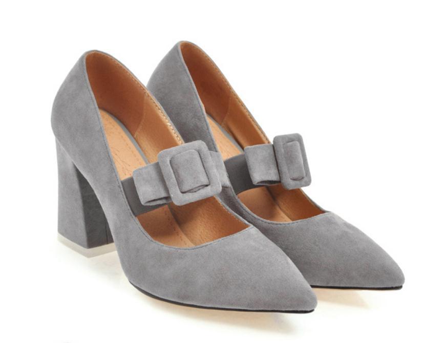 2020 весной и осенью с обувью Новый стиль моды Высокий каблук Грубый пятки заостренный конец Suede женщин в @ MQWBH9698