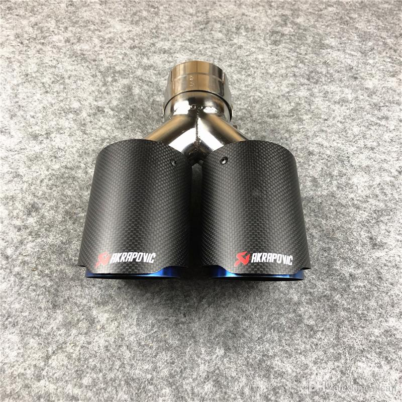(one pair) IN 63MM Y Model Dual Universal Exhaust Tips Matte Carbon fiber+ Blue Stainless steel Exhaust Dual Tail Tips