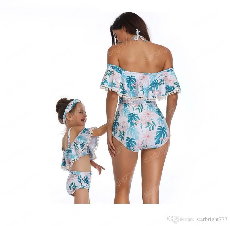 Color : C, Size : Child-128 Parent-Child Swimwear Ruffled Mother and Daughter Split Swimsuit High Waist Bikini Suit Cross Backless Family Matching Swimsuit
