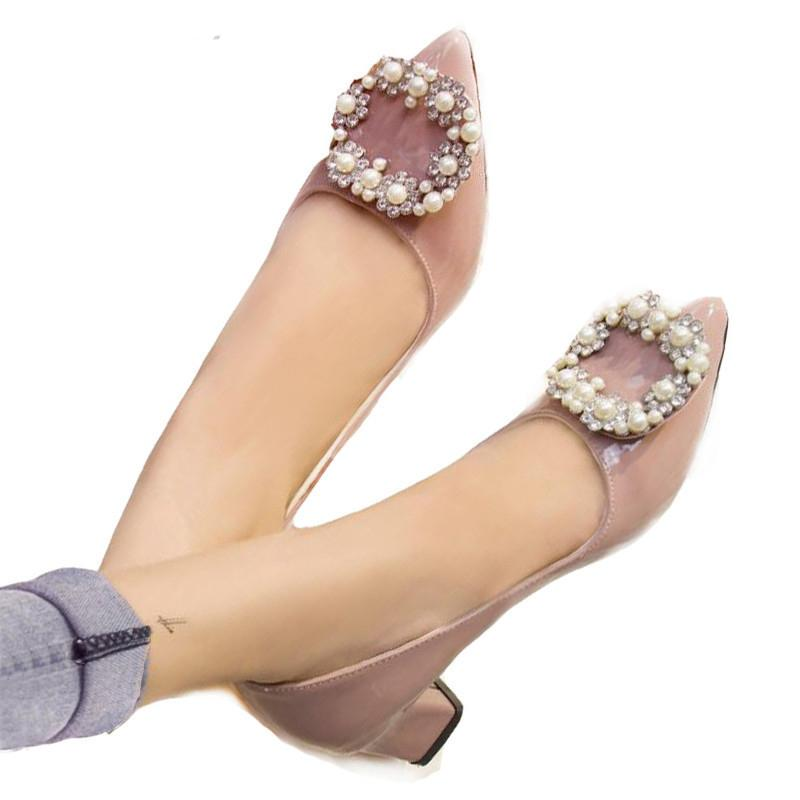 Designer Dress Shoes 2019 HOT women pumps luxury handmade pearls women square low heels pointed toe quality office party heels nude ALF503