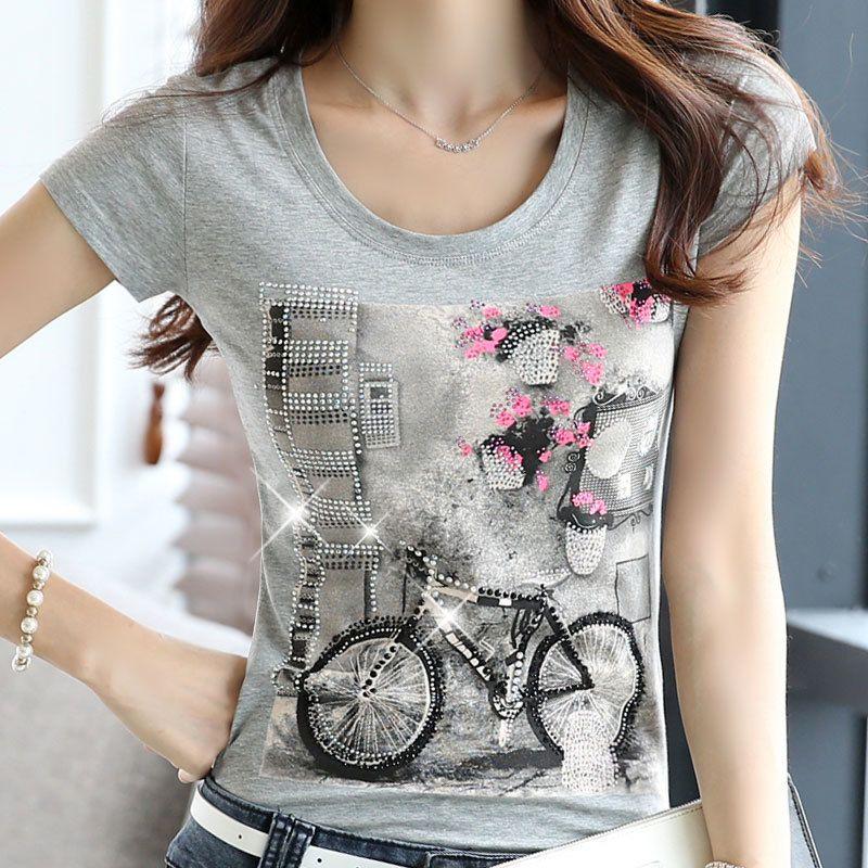 2019 قمصان نسائية ذات أكمام قصيرة مصنوعة من حجر الراين (Rhinestone beaard short sleek t-shirts Female diamond Tops white Beading bicycle)